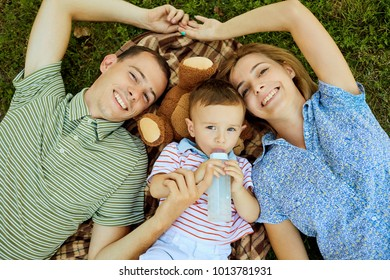 Happy family in nature.