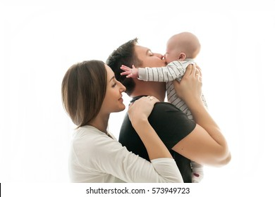 Happy family with newborn baby on a white background.