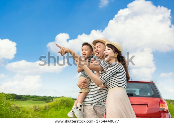 Happy family on  road trip and enjoy summer vacation