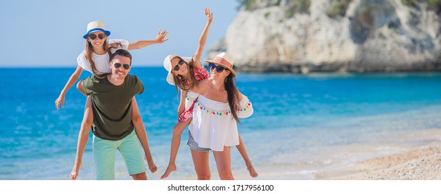 Happy family on the seashore together
