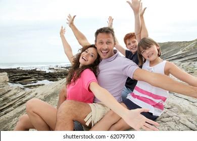 Happy family on summer holidays