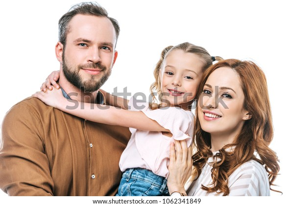 happy family with one child smiling at camera isolated on white