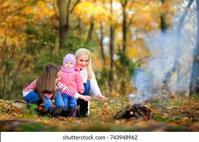 happy family outdoors in a beautiful park, fry marshmallows on fire and eat