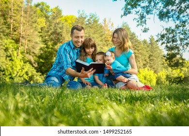 happy family outdoors in the park