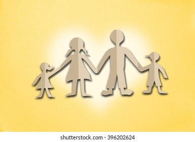 Happy family paper cut on cement wall background