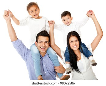 Happy family with parents carrying children on shoulders - isolated