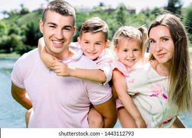 Happy family at the park.