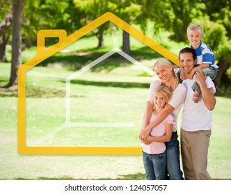 Happy family in the park with orange house illustration