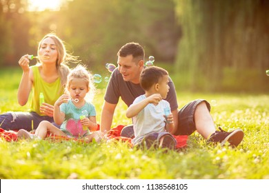 Happy family in the park together on a sunny day – cute children blow soap bubbles outdoor
