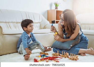 happy family playing at home,Mom and baby are happiness coexistence,happy family concept and Creating activities to strengthen skills for children.