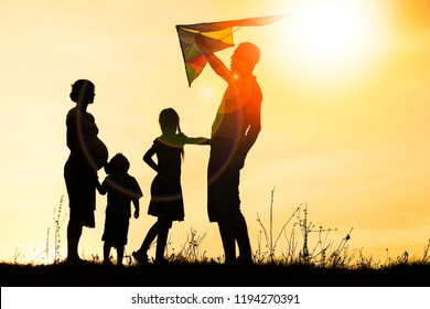 Happy family playing on nature summer silhouette