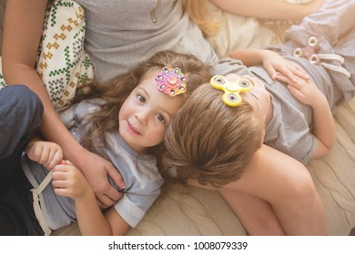 Happy family playing together