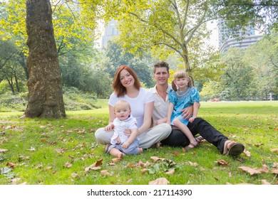 Happy Family Portrait at Park