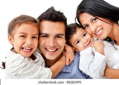 Happy family portrait smiling - isolated over a white background