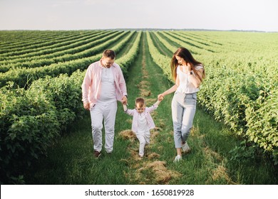 Happy family posing on a green field