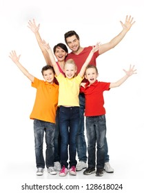Happy family with raised hands up isolated on white background