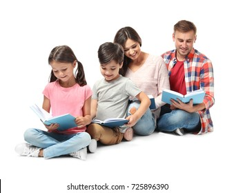 Happy family reading books on white background
