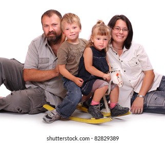 Happy family resting on a white background,