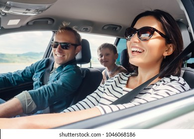 Happy family ride in the car
