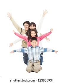 happy family rising hand