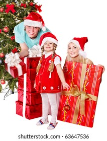 Happy family in santa hat holding gift box.  Isolated.
