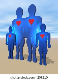 Happy Family. To see the entire series of heart people keyword: heart1people