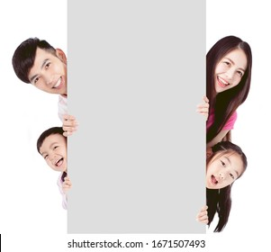 happy family showing the  Blank Board and banner On White Background