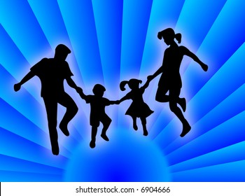 Happy family silhouette jumping and dancing for happiness