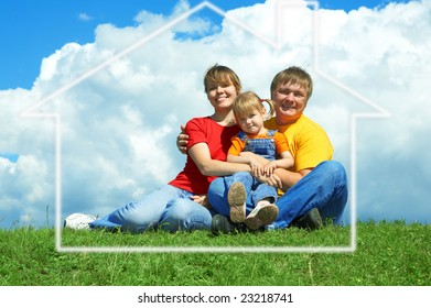 happy family sit in house on green grass under sky with clouds
