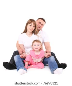 happy family sits together. It is isolated on a white background.
