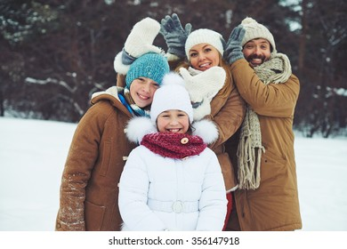 Happy family spending time together outdoors