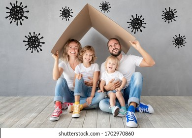Happy family stay at home. People maintain quarantine to prevent spreading infection. Healthy lifestyle and corona virus COVID-19 global epidemic concept