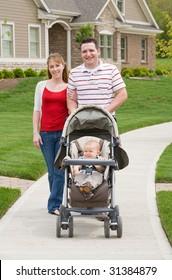 Happy Family Taking a Walk