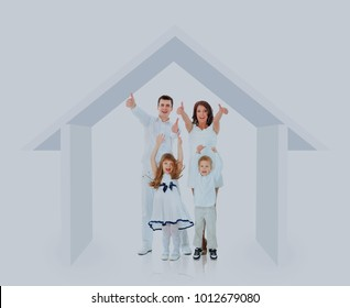 Happy family in their own home concept.