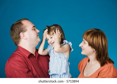 A happy family of three people, isolated