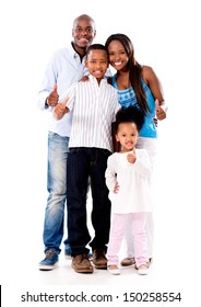 Happy family with thumbs up - isolated over a white background