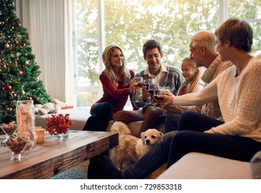 Happy family toasting with wine on Christmas eve. Family gathering at home for christmas festival, celebrating with wine.