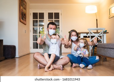Happy family together at home during quarantine due to world pandemic