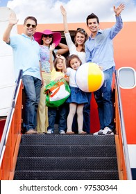 Happy family trip traveling by airplane and smiling