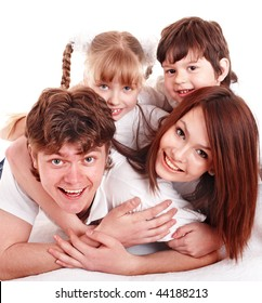 Happy family with two children. Isolated.