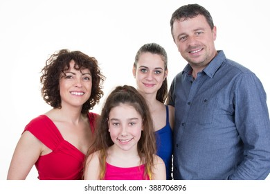 Happy family with two girl isolated teenager and a child