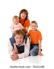 Happy Family with two kids together isolated on white