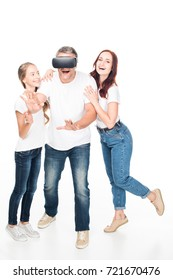 happy family using virtual reality headset, isolated on white