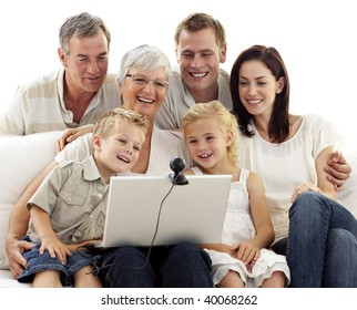 Happy family in a videoconference at home