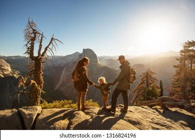 Happy family visit Yosemite national park in California