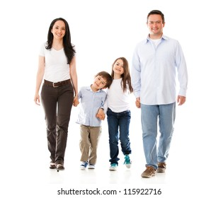 Happy family walking - isolated over a white background