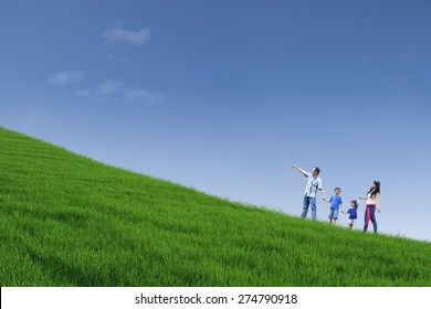 Happy family is walking on green field while holding hands