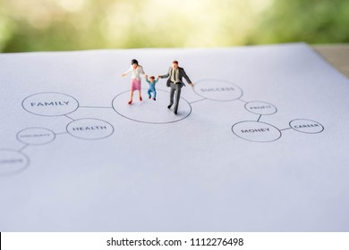 Happy Family with Work Life Balance Concept. present by Miniature Figure of Father, Mother and Son in Happiness Moment. Walking on Paper with Diagram printed