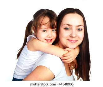 happy family, young beautiful mother and her daughter