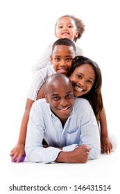 Happy famiy portrait having fun - isolated over a white background